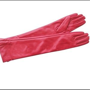 LA Accessories - Women's Red Vintage Leather Gloves